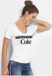 Camiseta Coca-Cola Estampada Aplicação Feminina - Feminino-Off White