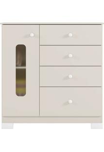 Cômoda Sonhos C/ Porta Off White Acetinado Móveis Estrela M