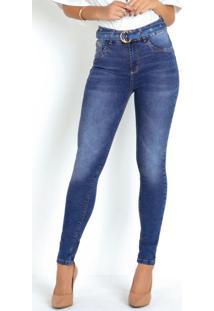 Calça Jeans Sawary Cintura Intermediária E Cinto