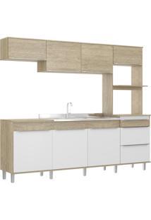 Cozinha Compacta 7 Portas 3 Gavetas C/ Pe Slim Decibal Moveis Acácia Branco