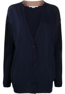 Stella Mccartney Cardigan Decote Em V Com Acabamento Contrastante - Azul