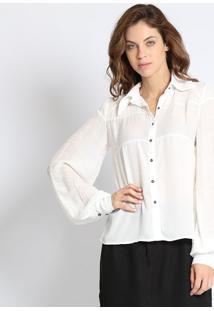fedf983157 ... Camisa Com Recorte- Off White- Linho Finolinho Fino