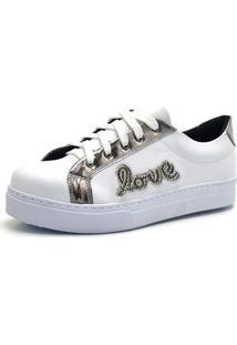 Tênis Flor Da Pele Love Strass Branco