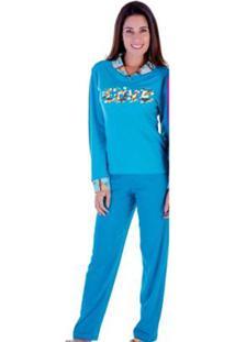 Pijama Feminino Victory Inverno Peluciado - Feminino-Azul