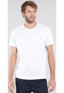 Camiseta Masculina Flamê Com Bolso Manga Curta Gola Careca Bege Claro