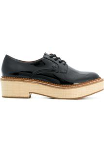 9118ac9c94 ... Emporio Armani Sapato De Couro Envernizado Com Cadarço - Preto