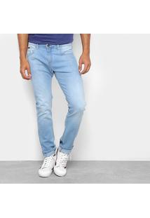 Calça Jeans Slim Wrangler Elastano Estonada Masculina - Masculino-Azul Claro