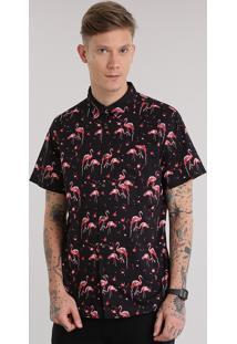 Camisa Estampada De Flamingos Preta