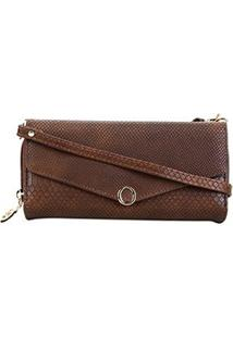 Carteira Luxcel Mini Bag Croco Feminina - Feminino-Marrom