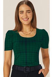 Blusa Verde Esmeralda Xadrez Bufante