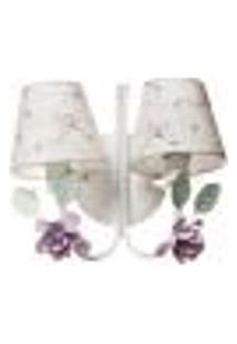 Arandela 2 Lâmpadas Flores G Rosa Quarto Bebê Infantil - Bivolt