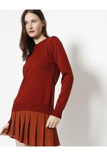 Blusa Lisa Em Tricã´- Vermelho Escuro- Ponto Aguiarponto Aguiar