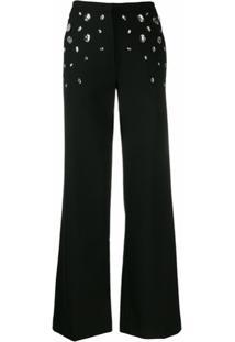 Christopher Kane Calça Pantalona De Alfaiataria Com Aplicações - Preto