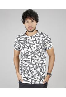 Camiseta Masculina Slim Fit Estampada Floral Manga Curta Gola Careca Off White