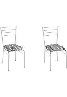 Kit 2 Cadeiras Pc10 Assento Listrado Preto - Pozza