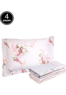 Jogo De Cama Casal 4Pçs Corttex Living Art Premium Ariel Branco/Rosa