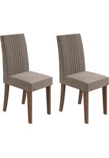 Conjunto De Cadeiras De Jantar 2 Rock Linho Rovere E Cinza