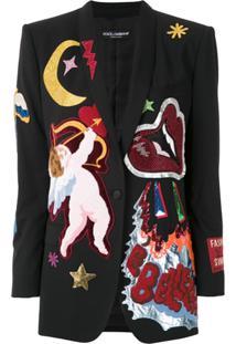 Dolce & Gabbana Blazer Com Bordados - Preto