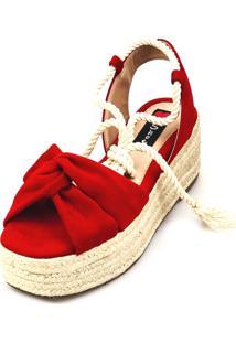 Anabela Espadrille Love Shoes Plataforma Corda Amarrar Vermelho
