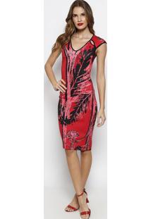 Vestido Com Recortes Vazados- Vermelho & Rosa- Forumforum