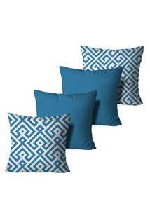 Kit 4 Capas Love Decor Para Almofadas Decorativas Blue Abstrato Multicolorido Azul