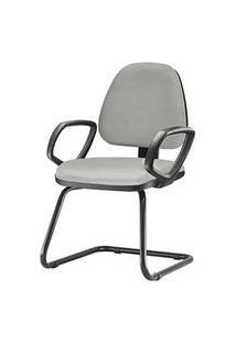 Cadeira Sky Com Bracos Fixos Assento Courino Cinza Claro Base Fixa Preta - 54830 Cinza