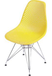 Cadeira Eames Furadinha Cor Amarela Com Base Cromada - 54700 - Sun House