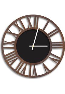 Relógio De Parede Decorativo Premium Vazado Números Romanos Corten Com Detalhe Preto Ônix Médio