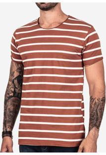 Camiseta Listrada Marrom 101688