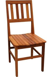 Cadeira De Madeira Maciça Rústica De Demolição Cambury