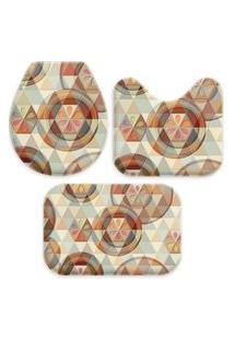 Jogo Tapetes Love Decor Para Banheiro Buttons And Triangles Multicolorido Único