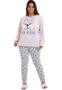 Pijama Plus Size Feminino Luna Cuore - Feminino-Rosa