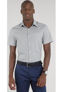 Camisa Masculina Comfort Xadrez Com Bolso Manga Curta Preta