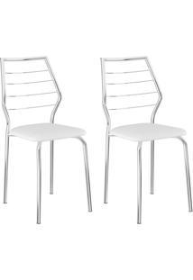 Conjunto 2 Cadeiras 1716 Casual Napa Branco Cromado