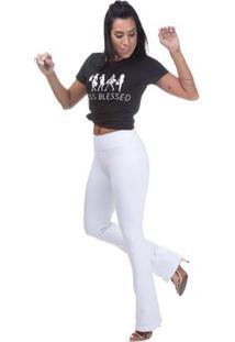 Calça Cintura Alta Miss Blessed Bailarina Feminina - Feminino-Branco