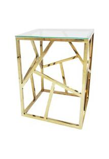 Mesa Lateral Dourada Em Aço Inox Com Tampo De Vidro - By Fineza