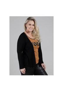 Blusa Com Sobreposição Plus Size Feminina Preto/Caramelo