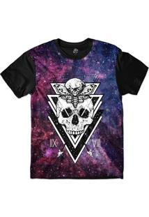 Camiseta Bsc Galáxia Caveira Borboleta Lua Sublimada Preto