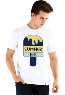 Camiseta Ouroboros Manga Curta Summer Time Masculina - Masculino-Branco