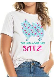 Camiseta Loves Spitz Heart Feminina - Feminino-Branco