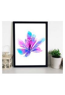 Quadro Decorativo Com Moldura Beautiful Flower Preto - 20X30Cm