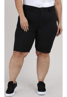 Bermuda De Sarja Feminina Plus Size Ciclista Cintura Alta Estampada De Poá Preta