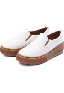 Slip On Flatform Feminino Casual Touro Boots Branco - Kanui