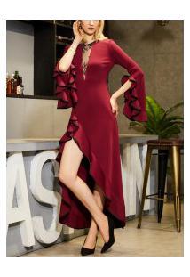 Vestido Longo Elegante Babado Manga Sino - Vermelho