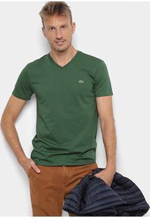 Camiseta Lacoste Gola V Regular Fit Masculina - Masculino-Verde