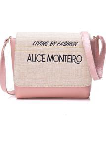 Bolsa Alice Monteiro Com Tampa Frase Rosa