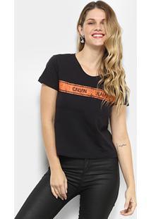 5f31233270faa Camiseta Calvin Klein Faixa Feminina - Feminino-Preto