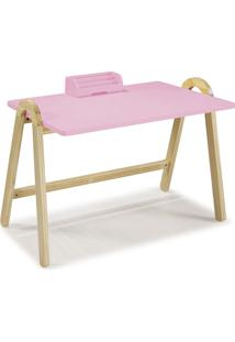 Mesa Escrivaninha Com Porta Objetos Ringo 1031 Natural/Rosa Cristal - Maxima