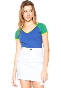 Camiseta Das Avessas Bicolor Azul