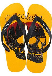 Chinelo Cavalera Bloody Skull Masculino - Masculino-Amarelo